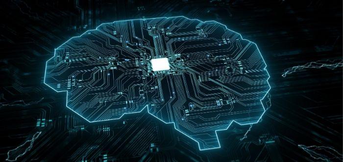 Representación de un cerebro humano con circuitos tecnológicos
