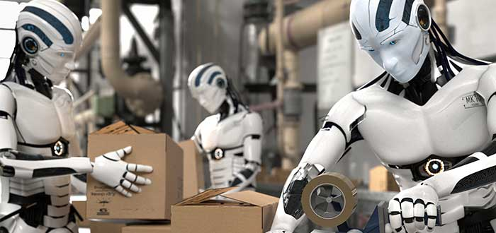 Varios robots humanoides en fábrica