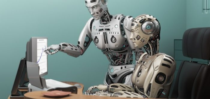 Robot androide en puestos de trabajo