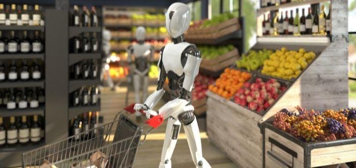 Modelo de androide comprando en el supermercado
